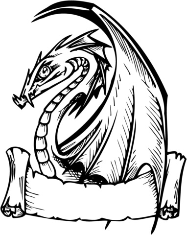 Dragon with Banner for Words coloring page