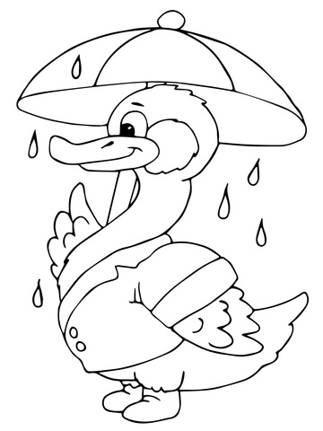 Duck with Umbrella Under the Rain coloring page