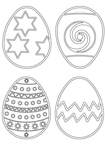 Easter Eggs Patterns Coloring Page