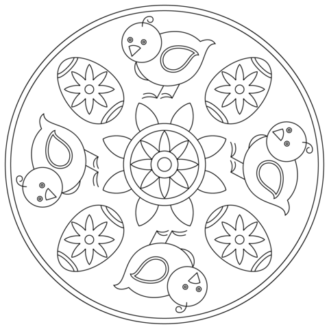 Easter Mandala with Chick and Egg coloring page