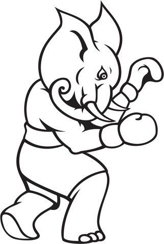 elephant boxing coloring page