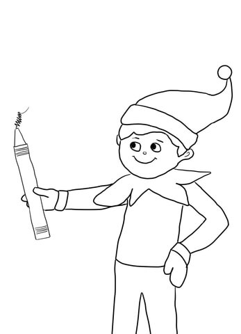Elf on the Shelf with Pencil coloring page