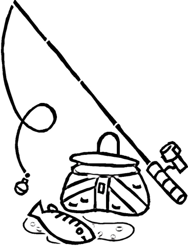 Equipment for Fishing  coloring page