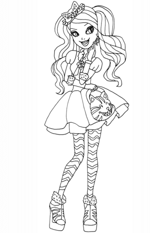Ever After High Kitty Cheshire coloring page