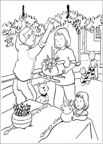 Family Decorates House  coloring page