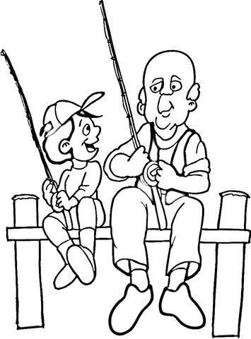 Dad and son fishing coloring page
