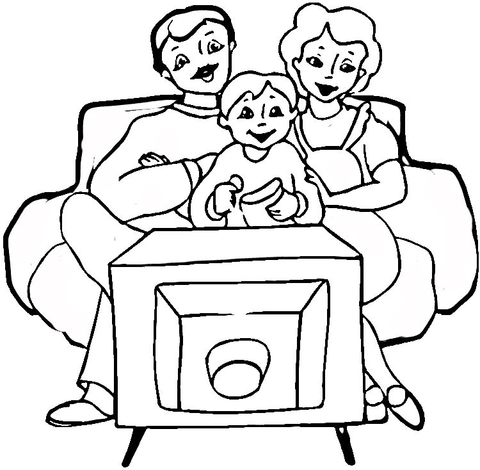 Family in Front of tv  coloring page