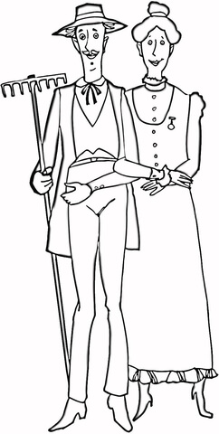 Family of Farmers  Coloring page