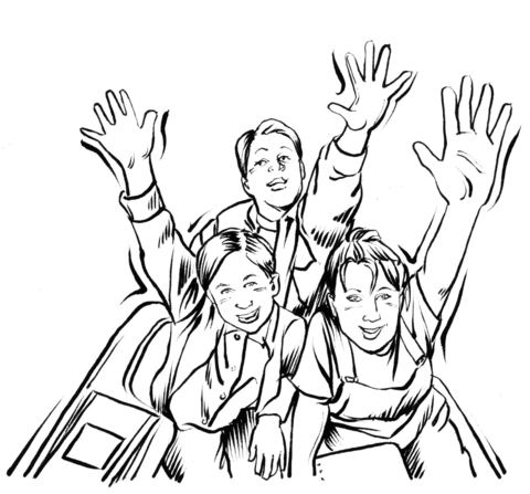 Family On The Roller Coaster Coloring Page