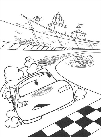 McQueen is about to cross the finish line coloring page