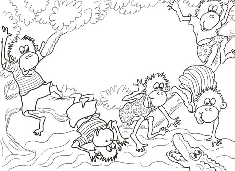 Five Little Monkeys Sitting in a Tree coloring page