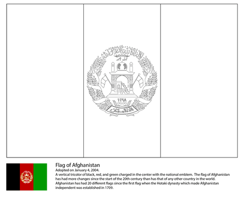 Flag of Afghanistan coloring page