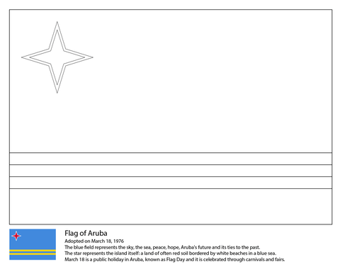 Flag of Aruba coloring page