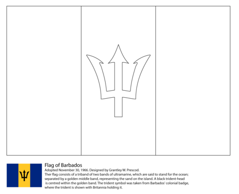 Flag of Barbados coloring page