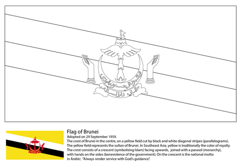 Flag of Brunei coloring page