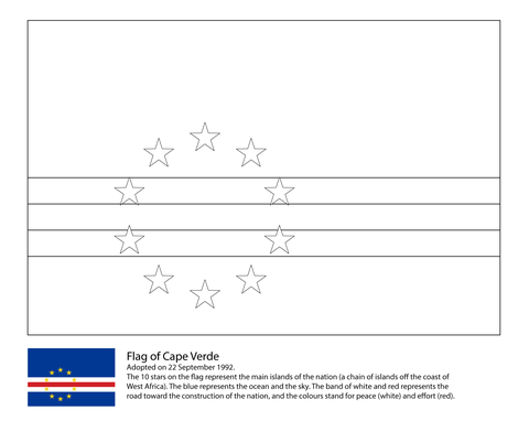 Flag of Cape Verde coloring page