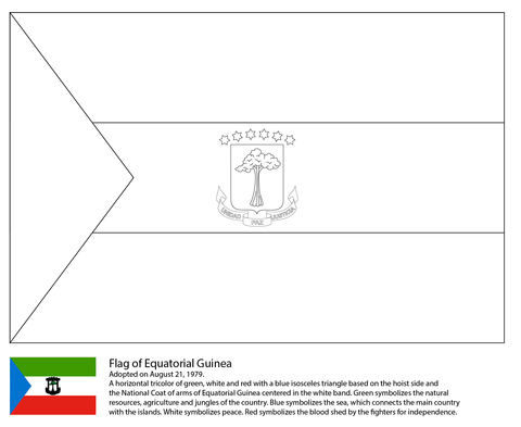 Flag Of Equatorial Guinea Coloring Page
