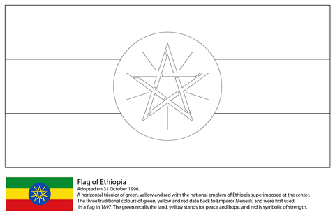 Flag Of Ethiopia Coloring Page