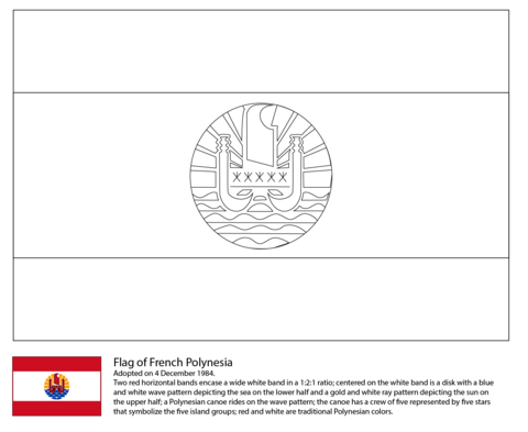 flag of french polynesia coloring page
