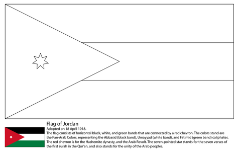 Flag of Jordan coloring page
