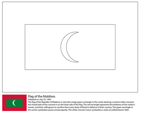 Flag of Maldives coloring page