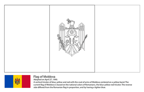 Flag Of Moldova Coloring Page