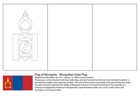 Flag of Mongolia coloring page