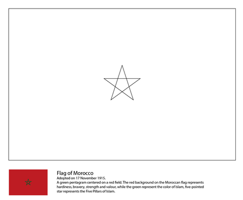 Flag Of Morocco Coloring Page