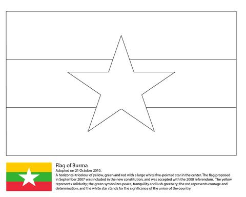 Flag of Myanmar coloring page