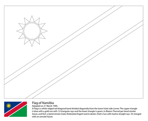 Flag Of Namibia Coloring Page