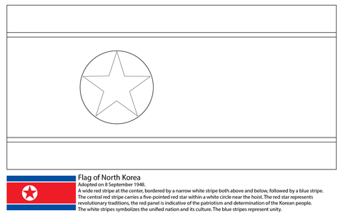 Flag of North Korea coloring page
