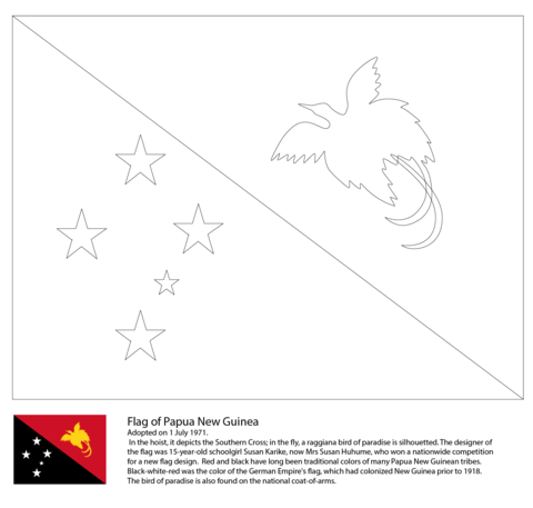 Flag of Papua New Guinea coloring page