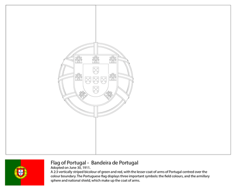 Flag Of Portugal Coloring Page