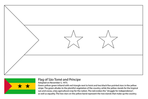 Flag of SГЈo TomГ© and PrГ­ncipe coloring page