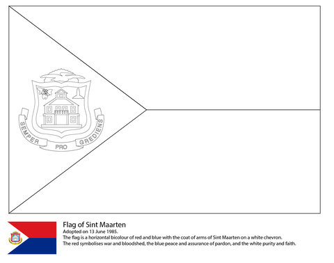 Flag Of Saint Maarten Coloring Page