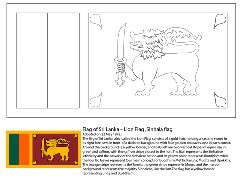Flag of Sri Lanka coloring page