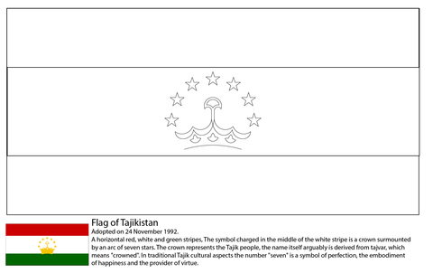 Flag of Tajikistan coloring page