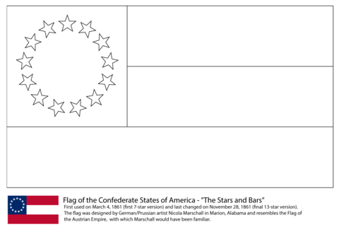 Flag of the Confederate States of America (1861-1863) coloring page