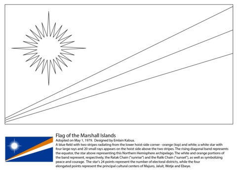Flag of the Marshall Islands coloring page