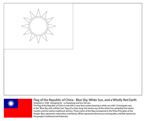 Flag of the Taiwan coloring page