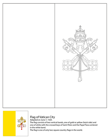 Free Printable Flag of The Vatican City coloring page