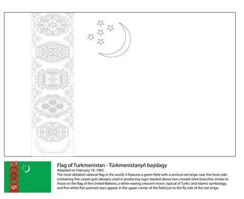 Flag of Turkmenistan coloring page