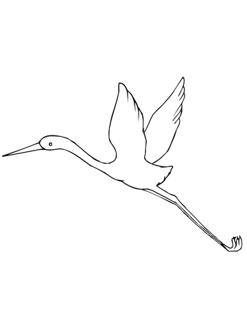 Flying Crane Bird coloring page