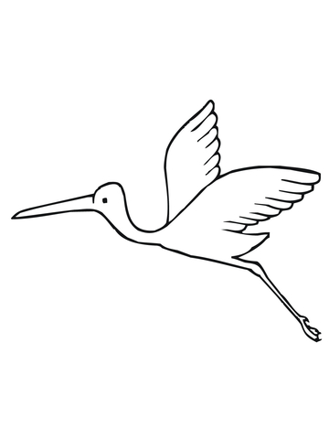 Flying Stork Coloring Page