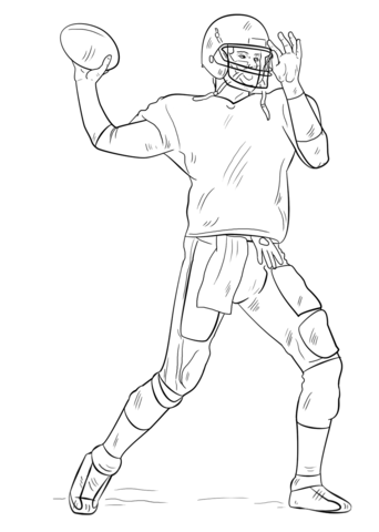 football player coloring page - Football Printable Coloring Pages