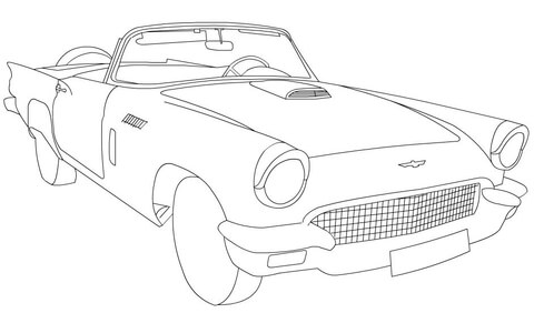 1955 Ford Thunderbird Coloring Page Free Printable Coloring Pages