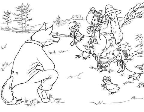 Fox Invites Birds to Its Lair coloring page