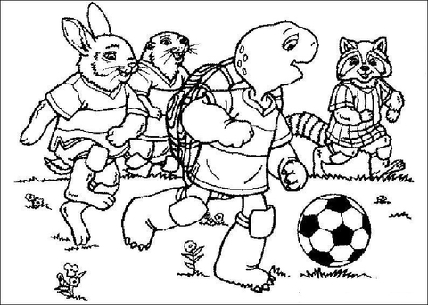 Franklin Is Playing Soccer with his friends coloring page - Free ...