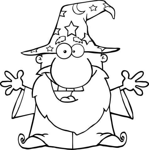 Friendly Wizard with Open Arms coloring page