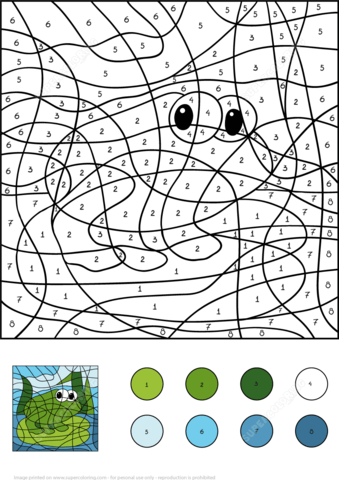 Frog Color by Number coloring page